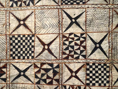 Bark Cloth (Ngatu) made about 1880 Bark and Paint.  Artist Unknown artist (Presumed to be Tongan).