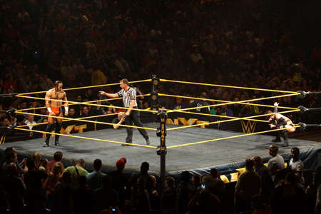punch press: SAN JOSE - MARCH 27: NXT male wrestler Adrian Neville stares across ring at Finn Balor before start of match at the San Jose Event Center in San Jose, California on March 27, 2015. Editorial