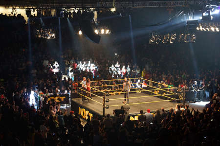 superstar: SAN JOSE - MARCH 27: WWE NXT Superstar Baron Corbin stands in the ring before match at the San Jose Event Center in San Jose, California on March 27, 2015. Editorial