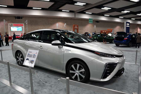 fuel cell: HONOLULU - MARCH 14, 2015:  100% fuel cell Toyota MIRAI on display at the Motor Show exhibition - 2015 First Hawaiian International Auto Show at the Convention Center in Oahu, Hawaii.  March 14, 2015. Editorial