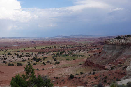 San Rafael Swell: San Rafael Swell red mountain valley landscape with space trees  in Utah.