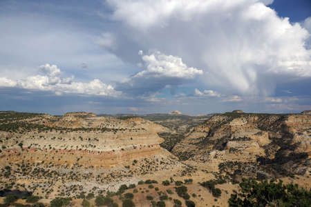 san rafael swell: San Rafael Swell mountain landscape with rain falling from the clouds and with space trees in the distance in Utah. Stock Photo