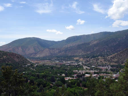Aerial view of Glenwood Springs Town in the Colorado Mountains, USA.
