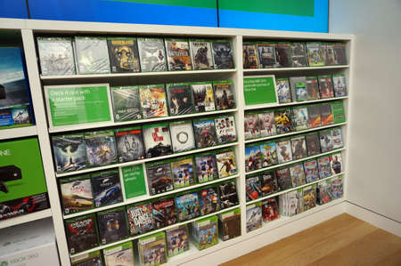 xbox: SAN FRANCISCO - OCTOBER 11: Rows of Xbox One on display inside Microsoft Windows Store during big sale in San Francisco whos technology is in most modern computers  in San Francisco on October 11, 2015.