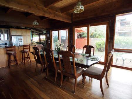 beachfront: beachfront Waimanalo Beach house dinning room with view of water.