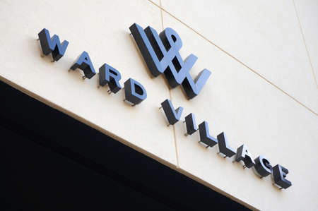 HONOLULU - FEBRUARY 21: Ward Village Sign in Honolulu, Hawaii on February 21, 2016.  Ward Village is being thoughtfully curated by community developer The Howard Hughes Corporation. Exceptional residences, an eclectic collection of retail stores and enter