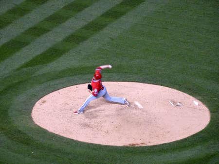 denver parks: DENVER - JULY 7: Angels pitcher Andrew Heaney steps forward to throw pitch off mound on July 7, 2015 in Denver, Colorado.