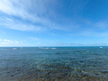 febuary: Shallow ocean waters of Waikiki looking into the pacific ocean. Febuary 2016.