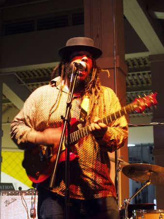 keith: HONOLULU, HI - JAUUARY 29: Lead singer of Guidance Band Keith Batlin Jams on guitar on stage at Mai Tai Bar in Ala Moana Shopping Center on January 29 2016 Honolulu, Hawaii.