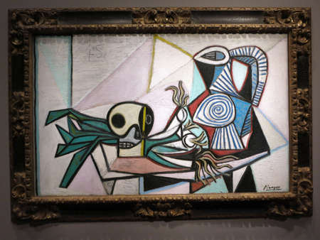 contortion: SAN FRANCISCO - MARCH 8: Still Life with Skull, Leeks, and Pitcher, March 14, 1945.  By Pablo Picasso, Oil on Canvas at the De Young Museum on March 8, 2016. Editorial