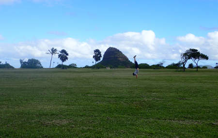 beach hunk: Man Handstand field with Mokoli?i or Chinamans Hat in the background on Oahu, Hawaii