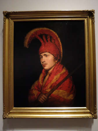 attributed: Portrait of a Man Dressed in the Manner of a Otaheitan Cheif Warrior - Attributed to Rembrandt Peale ca. 1795, Oil on Canvas at the De Young Musuem in San Francisco, March 8, 2016.