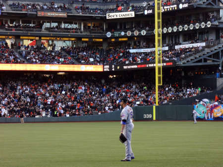 outfield: SAN FRANCISCO, CA - JULY 9: Mets right fielder Carlos Beltran stands in the outfield waiting for play during baseball game on July 9, 2011 AT&T Park San Francisco. Editorial