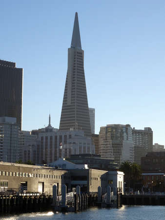 transamerica: San Francisco Pier and Downtown with the landmarks of TransAmerica building  in the background.  October 2015.
