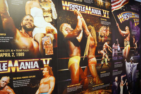 ranging: SAN JOSE - MARCH 28: Display of Wrestlemania posters ranging from Wrestlemania 5-7 at WWE Axxess event featuring Hulk Hogan, Macho Man, Ultimate Warrior, Jake the Snake and Million Dollar Man Ted DiBiase  at the McEnery Convention Center in San Jose, Cali Editorial