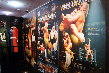 ranging: SAN JOSE - MARCH 28: Display of Wrestlemania posters ranging from Wrestlemania 1-3 at WWE Axxess event featuring Hulk Hogan, Macho Man, Andre the Giant, Mr. T and Muhammad Ali at the McEnery Convention Center in San Jose, California on March 28, 2015.