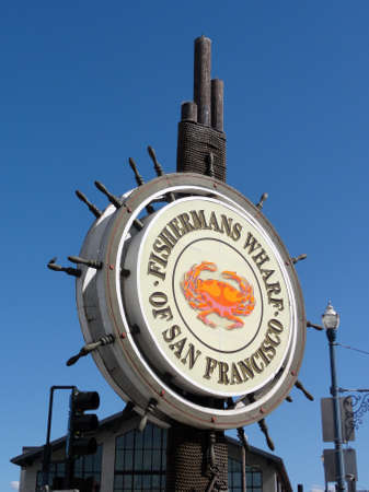 SAN FRANCISCO - FEBRUARY 28: Iconic Fishermans Wharf of San Francisco central logo sign.  February 28, 2011 San Francisco, California.  Fishermans Wharf is a neighborhood and popular tourist attraction in San Francisco, California. It roughly encompasses