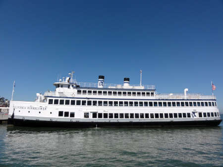 local 27: SAN FRANCISCO, CA - SEPTEMBER 27: California Hornblower docked in the San Francisco Bay. Hornblower cruises are a local favorite for dinner cruises, Bay tours, weddings and corporate events.  September 27, 2011 San Francisco, CA.