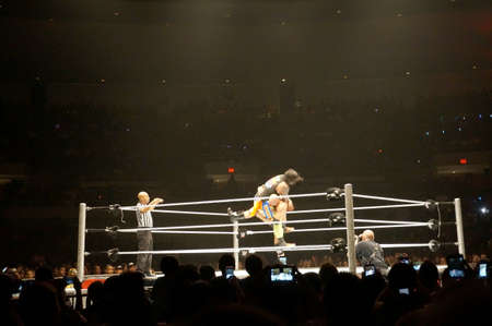 wrestlers: HONOLULU - JUNE 29, 2016: WWE wrestlers Karl Anderson slams the Uso to the mat in ring during a WWE event at the Neal S. Blaisdell Center, Honolulu on June 29, 2016 Honolulu, Hawaii. Editorial