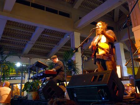 keith: HONOLULU, HI -  JULY 4: Lead singer of Guidance Band, Keith Batlin, singing and jams on stage at Mai Tai Bar in Ala Moana Shopping Center on July 4 2016, Honolulu, Hawaii.