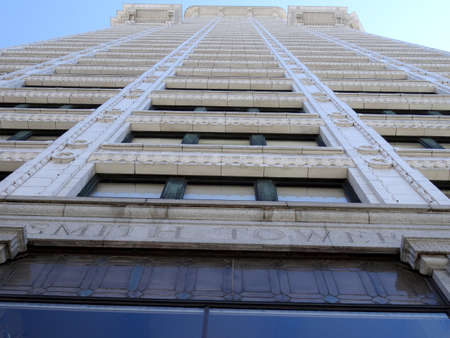 wa: SEATTLE-- JUNE 26:  Looking up at the big beautiful view of Smith Tower building, 38-story 149 m tall building was completed in 1914, in downtown  on June 26, 2016 in Seattle, WA.