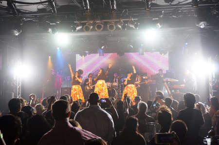 HONOLULU - FEBRUARY 14: ladies of Smokestack sing as band plays on stage at MOTOWN VALENTINES 5 - A Live Tribute to Motown at The Republik in Honolulu, Hawaii on February 14, 2016. Editorial