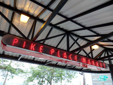 Seattle,Washington,usa. 062516: Pike place Public market neon signs at during the day. Editorial