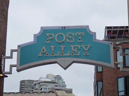 SEATTLE - JUNE 25: Post Alley Neon Sign at Pike Place Market in Seattle, Washington on June 25, 2016. Editorial