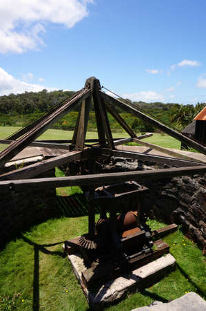 outdoor pit where circling mules powered cane-crushing machinery at Restored sugar mill at Molokai Museum and Cultural Center.  Created by Rudolph W. Meyer, a German surveyor who married a Hawaiian chiefess and founded the compact mill in 1878.