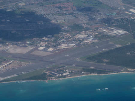Aerial of Kalaeloa Airport on the coast of Oahu in the state of Hawaii. Stock Photo