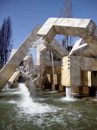 San Francisco - March 26, 2010: Vaillancourt Fountain, sometimes called Quebec libre!, is a large fountain located in Justin Herman Plaza in San Francisco, designed by the Québécois artist Armand Vaillancourt in 1971.