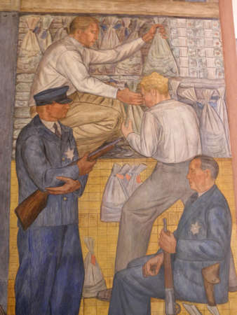People and Guards move money in Coit Tower Mural. Public Works Art Project (PWAP, part of the New Deal during the Great Depression) murals, now protected as a historical treasure, can be viewed daily inside the first floor of Coit Tower.
