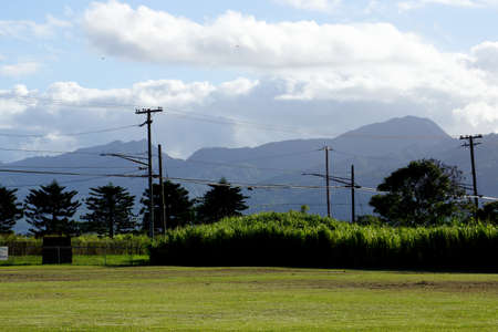 Kahi Kani Park with powerlines, birds in the air and mountains in the distance on Oahu, Hawaii