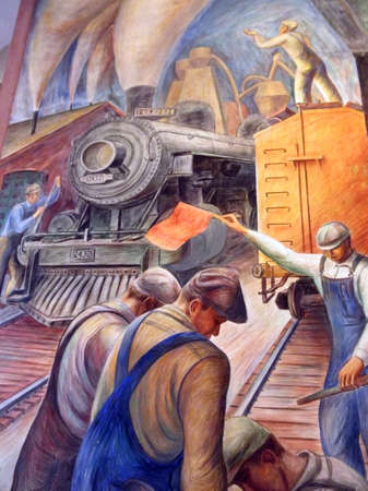 San Francisco - January 20, 2011: People direct and work on trains in Coit Tower Mural. Public Works Art Project (PWAP, part of the New Deal during the Great Depression) murals, now protected as a historical treasure, can be viewed daily inside the first