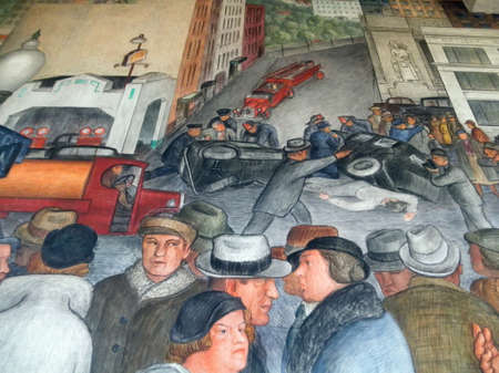San Francisco - January 20, 2011: Close up of, City Life, one of the largest murals at Coit Tower.   It was painted by Victor Mikhail Arnautoff who had worked as an assistant to Diego Rivera in Mexico and taught at the California School of Fine Arts (CSFA 에디토리얼
