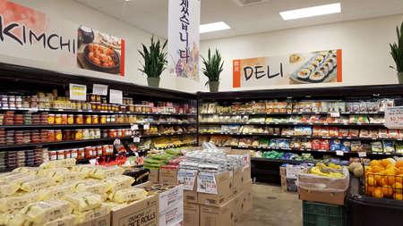 Honolulu - June 10, 2016: KimChi and Deli Section inside Palama Market. Taken June 10, 2016 on Oahu, Hawaii.