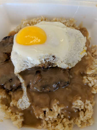 Loco Moco Close-up. Loco Moco is a dish native to Hawaiian cuisine. There are many variations, this one consists of brown rice topped with a hamburger patty, a egg over easy, onions and brown gravy. Stock Photo