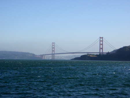 San Francisco Golden Gate Bridge seen from the water bridging San Francisco and Marin County in California. Stock Photo