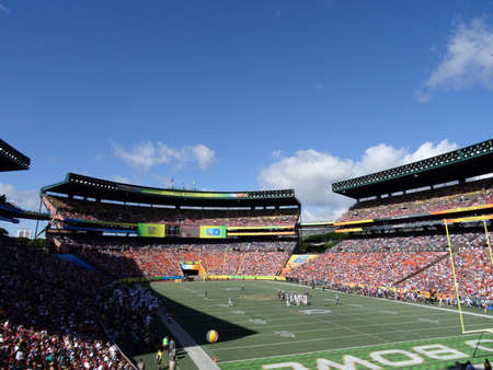 Honolulu - January 31, 2016: Players stand in middle of field before ProBowl Game taken at the Aloha Stadium in Honolulu, Hawaii.