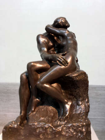 San Francisco - September 10, 2013:  Auguste Rodin - The Kiss (Le Baiser) on display at the Legion of Honor Musuem.  Made of bronoz ca. 1884. Éditoriale