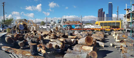 Honolulu - August 12, 2017:  Large pieces of Wood for Sale at Re-Use Hawaii.  Re-use Hawaii is a nonprofit organization whose mission is to preserve our natural resources, provide an affordable building material source through alternatives to demolition,