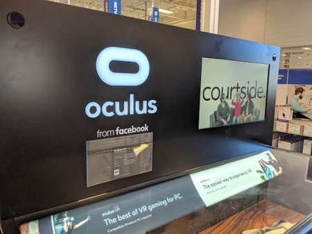 Honolulu - May 29, 2018: Oculus from Facebook display in Honolulu Best Buy store.   Oculus VR is an American technology company founded by Palmer Luckey, Brendan Iribe, Michael Antonov, Nate Mitchell in July 2012 in Irvine, California, now based in Menlo