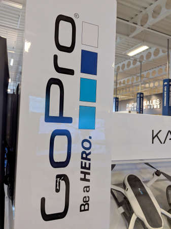 Honolulu - September 7, 2018: Go Pro - Be a HERO Logo wall in Honolulu Best Buy store.  GoPro, Inc. is an American technology company founded in 2002 by Nick Woodman. It manufactures eponymous action cameras and develops its own mobile apps and video-edit Stock fotó - 117653770