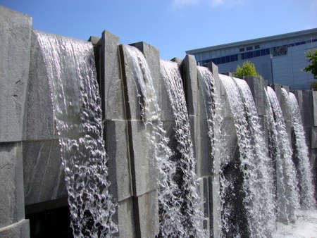 San Francisco - July 11, 2010:  Waterfall at Martin Luther King, Jr. Memorial at Yerba Buena Gardens.  The vision of peace and international unity is enshrined in this memorial featuring a majestic waterfall and shimmering glass panels inscribed with Dr.  Editorial