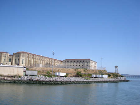 San Quentin State Prison California taken from a passing ferry with lookout tower. 免版税图像