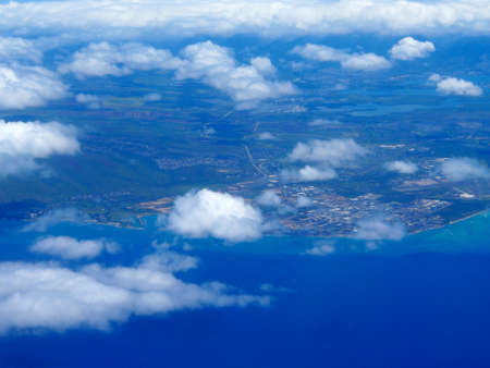 Aerial of Barbers Point, and Pearl Harbor of Oahu in the state of Hawaii. Фото со стока - 117726808