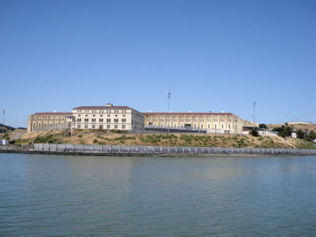 San Quentin State Prison California taken from a passing ferry.  With look out tower at center. Editorial