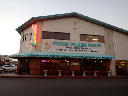 Honolulu - January 9, 2016: Uncle's Fish Market & Grill.  Created by a fisherman as a tribute to his mentors and heroes, Uncle's Fish Market & Grill is located on Pier 38 in Honolulu.