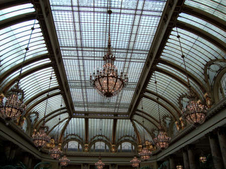 San Francisco - January 16, 2010:  The Garden Court Restaurant crowned by historic landmark glass dome atrium and shimmering Austrian crystal chandeliers.