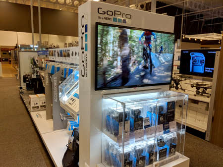 Honolulu -  August 10, 2018: Go Pro - Be a HERO Logo and display of gear in Honolulu Best Buy store.  GoPro, Inc. is an American technology company founded in 2002 by Nick Woodman. It manufactures eponymous action cameras and develops its own mobile apps  Stock fotó - 117821731